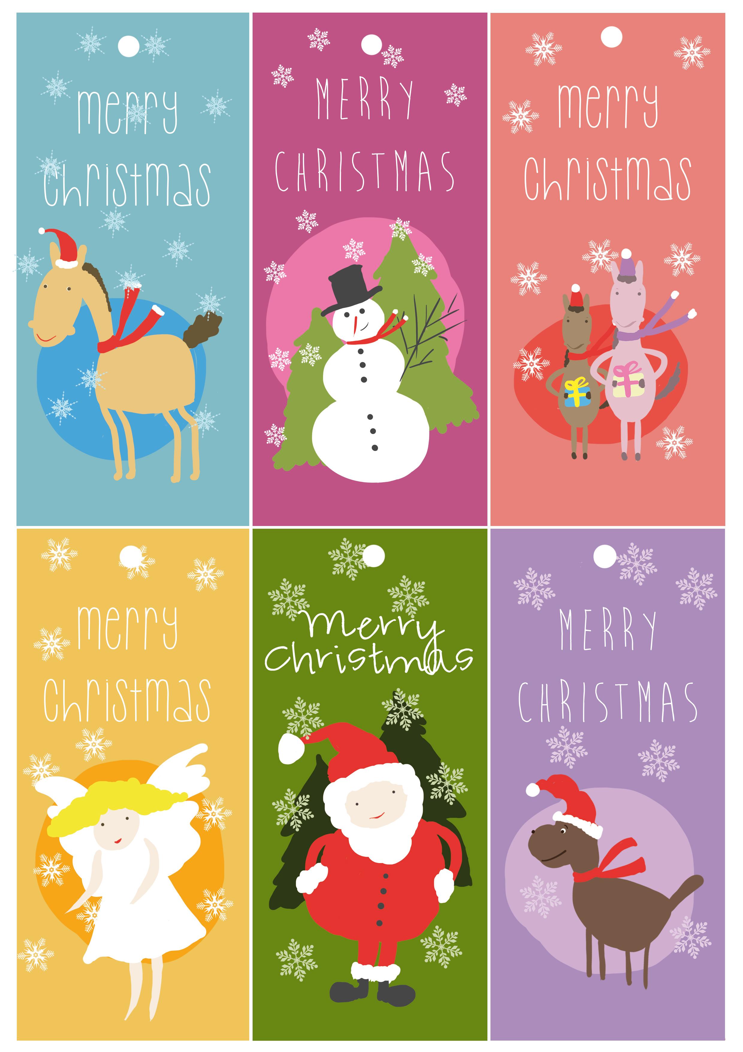 Kostenlose Merry Christmas Geschenkkarten.
